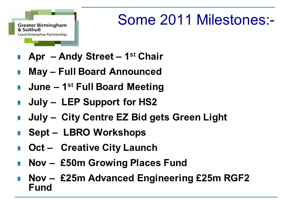 Some 2011 Milestones:- Apr – Andy Street – 1 st Chair May – Full Board Announced June – 1 st Full Board Meeting July – LEP Support for HS2 July – City Centre EZ Bid gets Green Light Sept – LBRO Workshops Oct – Creative City Launch Nov – £50m Growing Places Fund Nov – £25m Advanced Engineering £25m RGF2 Fund