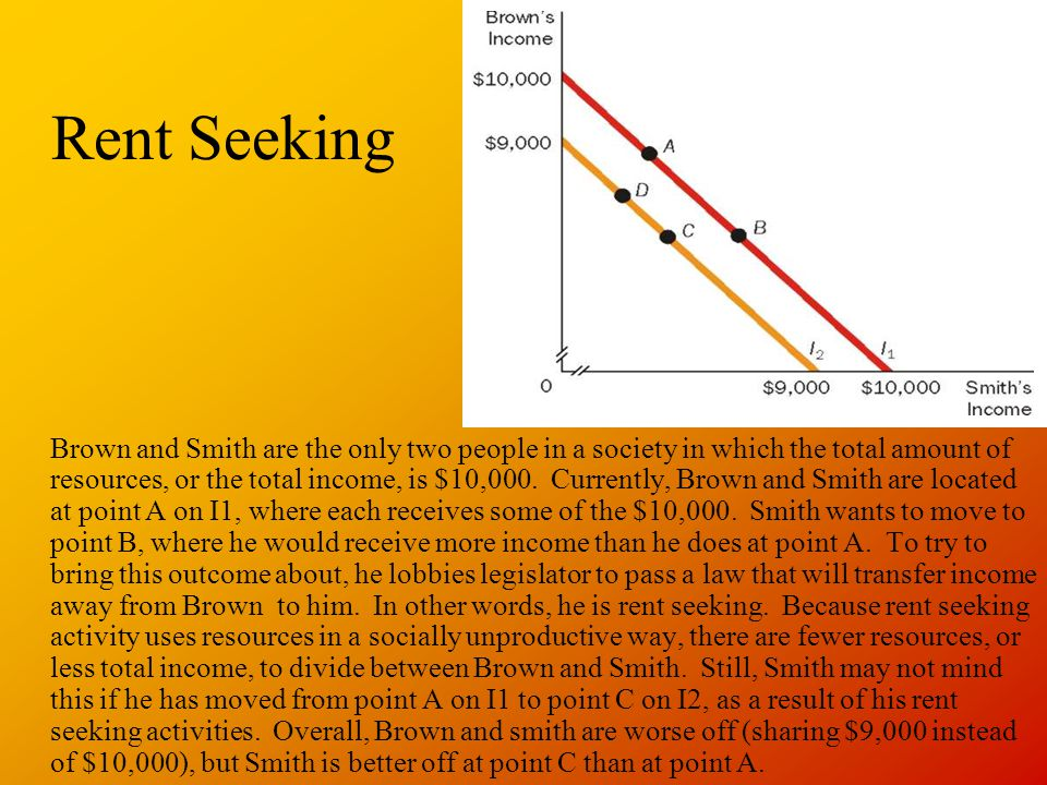 Rent Seeking Brown and Smith are the only two people in a society in which the total amount of resources, or the total income, is $10,000. Currently,