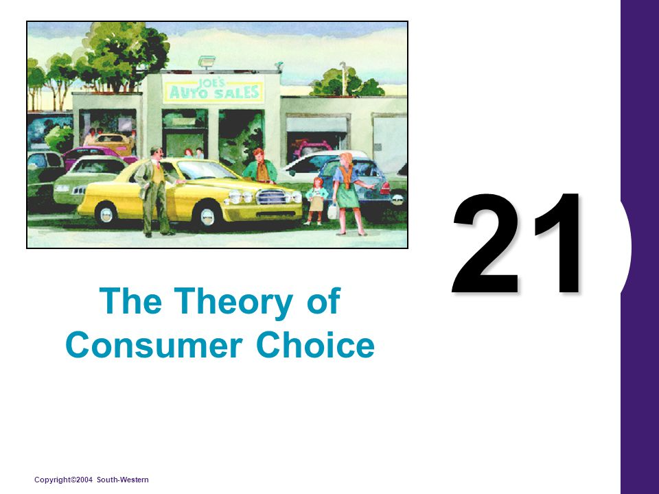 Copyright©2004 South-Western What's Important in Chapter 21 Budget Constraint & its Shape Consumer Preferences and the Shape of the Indifference Curves Consumer optimum Changes in Income Changes in Price