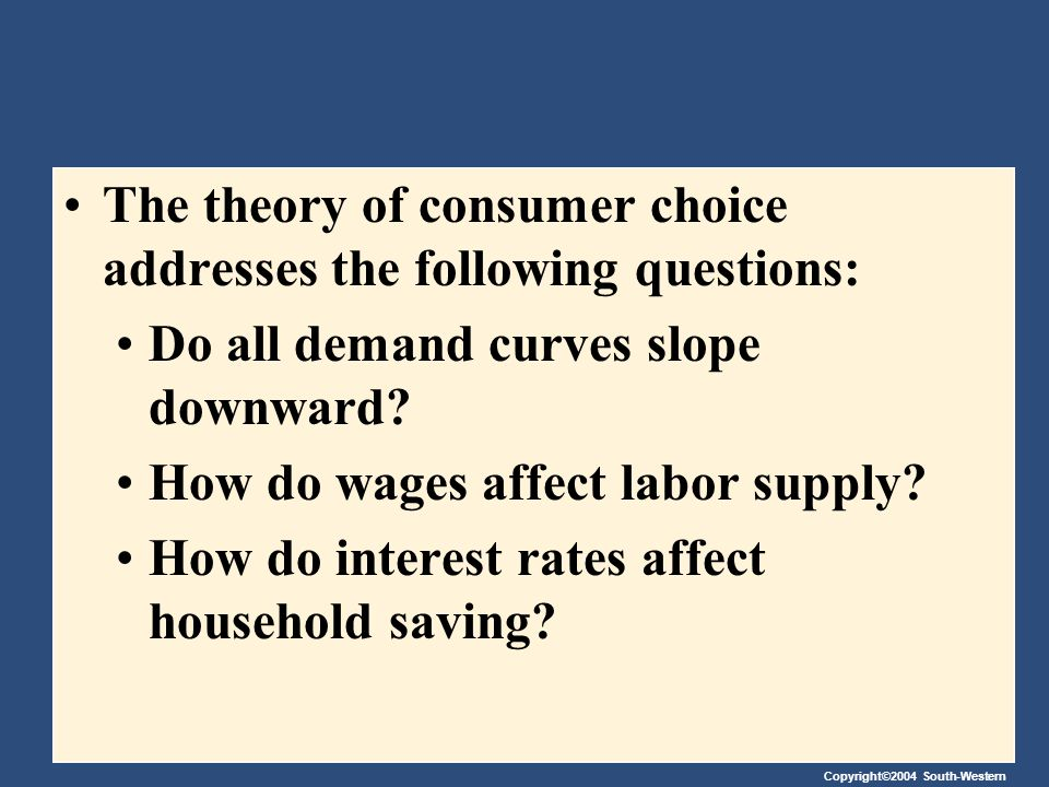 Copyright©2004 South-Western THE BUDGET CONSTRAINT: WHAT THE CONSUMER CAN AFFORD The budget constraint depicts the limit on the consumption bundles that a consumer can afford.