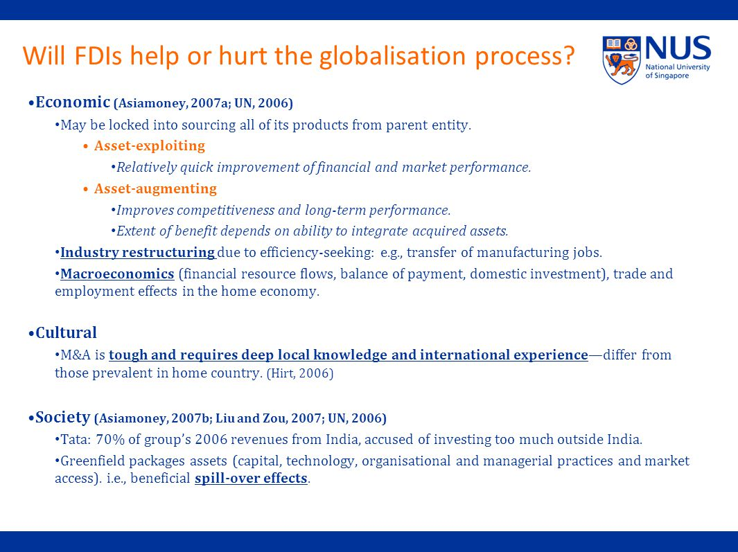 Will FDIs help or hurt the globalisation process.