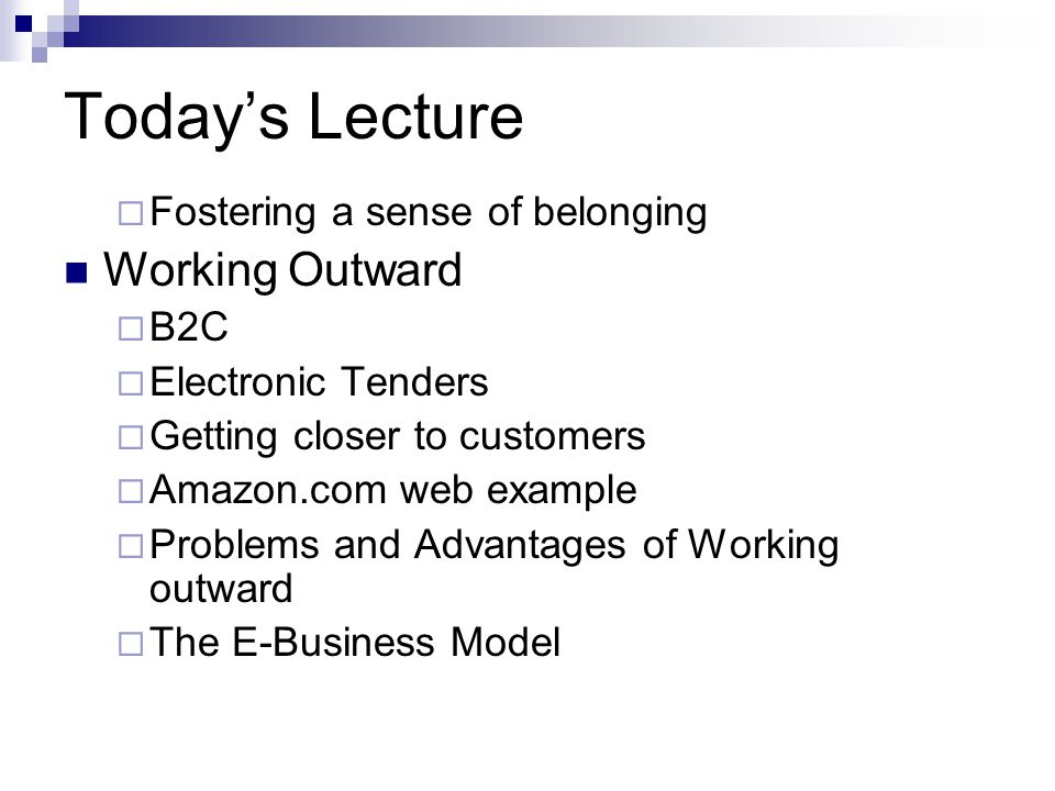 Today's Lecture  Fostering a sense of belonging Working Outward  B2C  Electronic Tenders  Getting closer to customers  Amazon.com web example  Problems and Advantages of Working outward  The E-Business Model