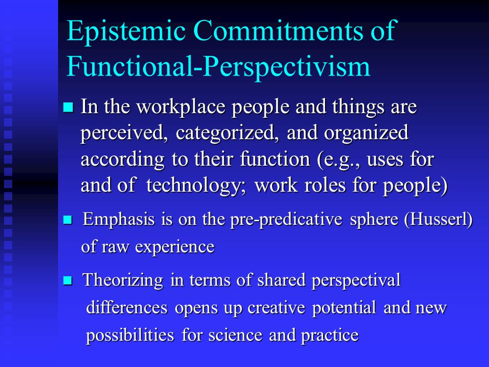 FP relies on dialectics but not of the Hegelian sort, i.e., antimony of thesis and anti-thesis which is then resolved through synthesis At the level of dynamics in extended time FP relies on principles of equilibrium (dynamics) At the experiential level with the system in homeostasis and in immediate, i.e., fixed, time relies on FP dialectics as elision of ecological complexes that naturally occur in the workplace (statics)
