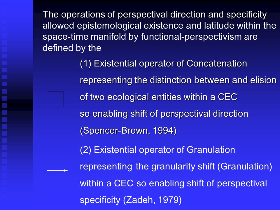 The operations of perspectival direction and specificity The operations of perspectival direction and specificity allowed epistemological existence and latitude within the space-time manifold by functional-perspectivism are defined by the (1) Existential operator of Concatenation representing the distinction between and elision representing the distinction between and elision of two ecological entities within a CEC so enabling shift of perspectival direction (Spencer-Brown, 1994) (Spencer-Brown, 1994) (2) Existential operator of Granulation representing the granularity shift (Granulation) within a CEC so enabling shift of perspectival specificity (Zadeh, 1979)