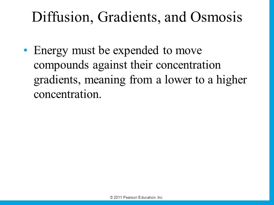 © 2011 Pearson Education, Inc. Diffusion, Gradients, and Osmosis Energy must be expended to move compounds against their concentration gradients, mean