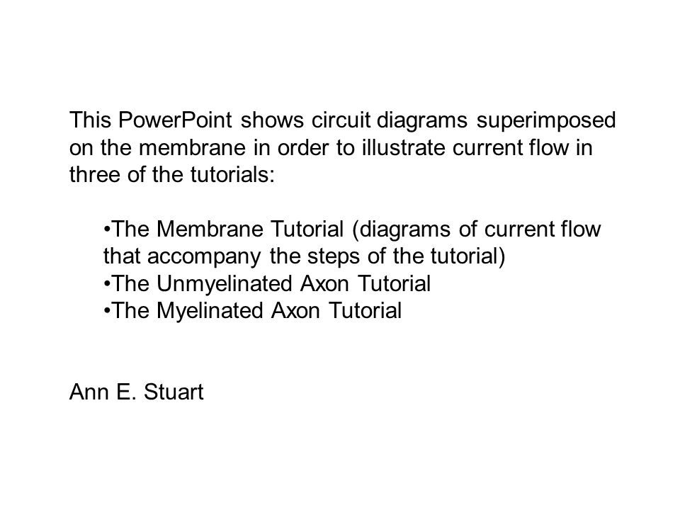 This PowerPoint shows circuit diagrams superimposed on the membrane in order to illustrate current flow in three of the tutorials: The Membrane Tutori