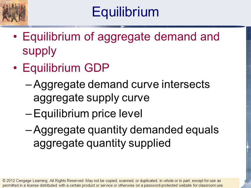 Equilibrium Equilibrium of aggregate demand and supply Equilibrium GDP –Aggregate demand curve intersects aggregate supply curve –Equilibrium price le