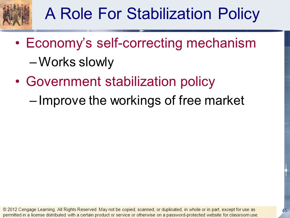 A Role For Stabilization Policy Economy's self-correcting mechanism –Works slowly Government stabilization policy –Improve the workings of free market