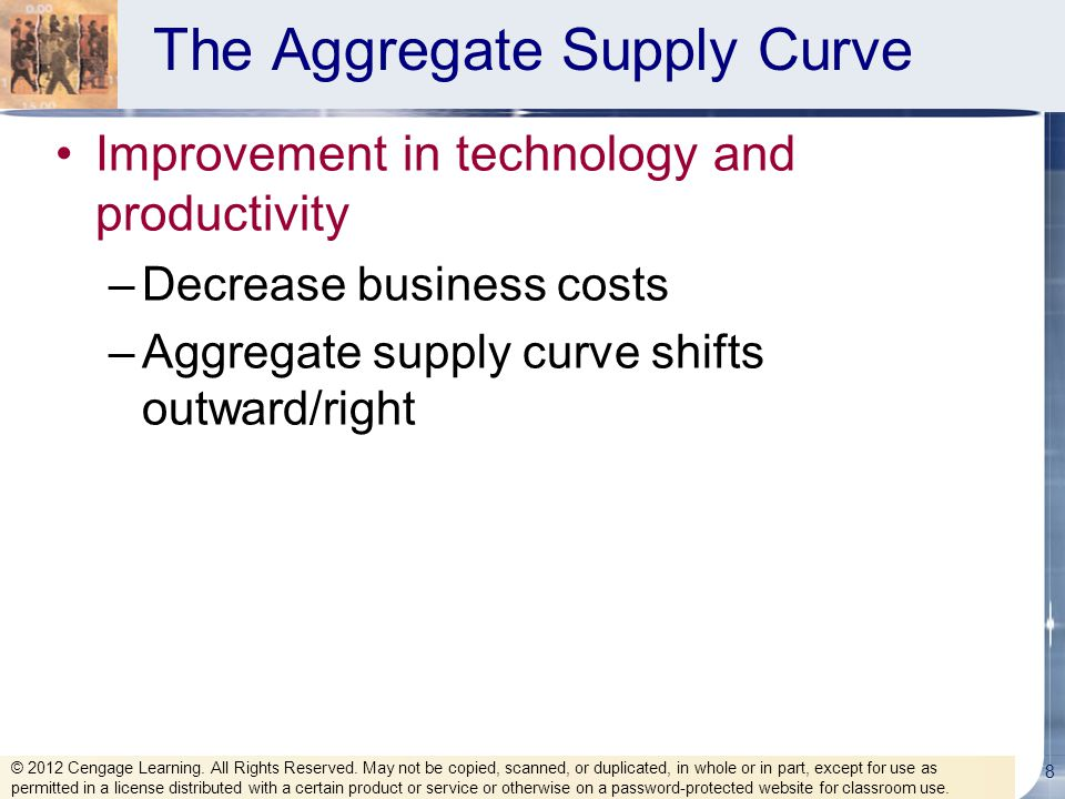 The Aggregate Supply Curve Improvement in technology and productivity –Decrease business costs –Aggregate supply curve shifts outward/right 8 © 2012 C