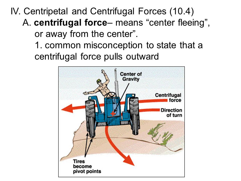 IV. Centripetal and Centrifugal Forces (10.4) A.