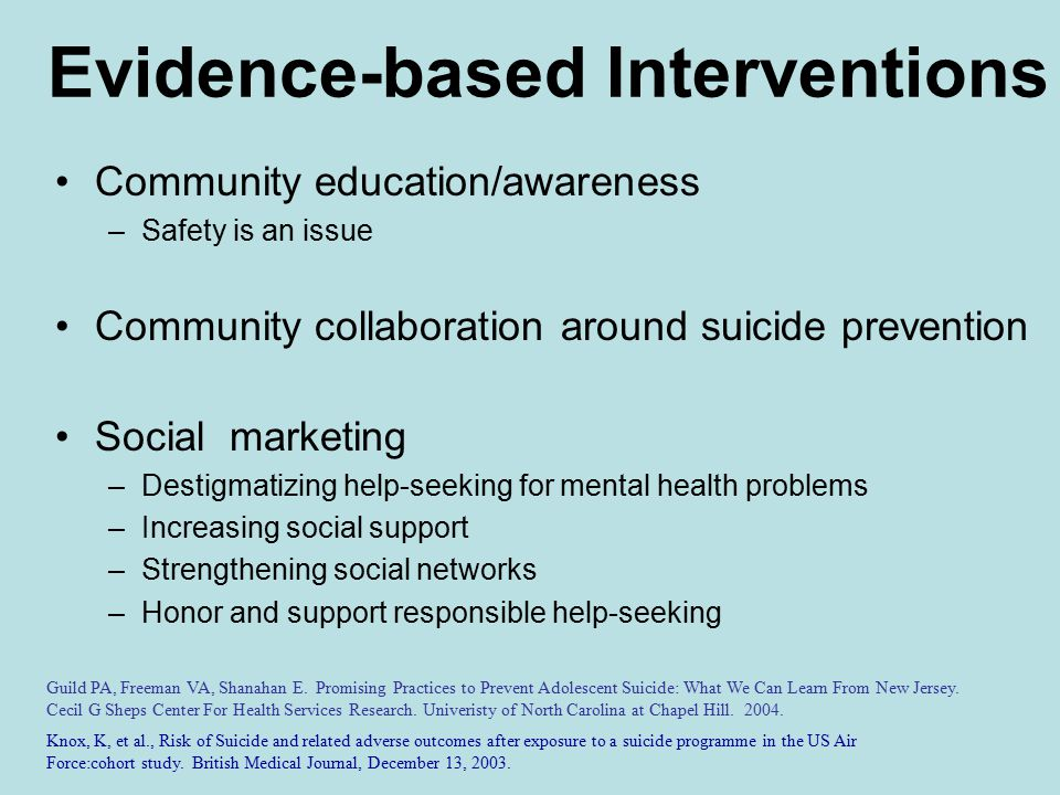 Evidence-based Interventions Community education/awareness –Safety is an issue Community collaboration around suicide prevention Social marketing –Destigmatizing help-seeking for mental health problems –Increasing social support –Strengthening social networks –Honor and support responsible help-seeking Guild PA, Freeman VA, Shanahan E.