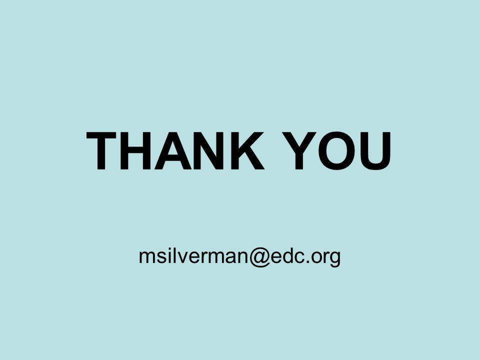 THANK YOU msilverman@edc.org