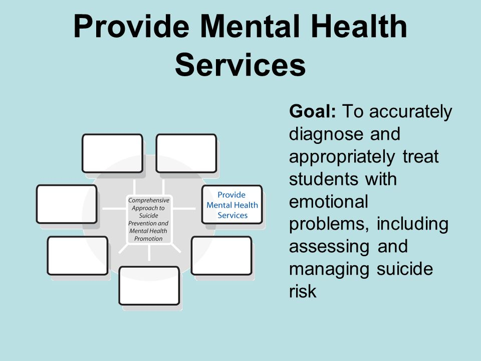 Provide Mental Health Services Goal: To accurately diagnose and appropriately treat students with emotional problems, including assessing and managing suicide risk