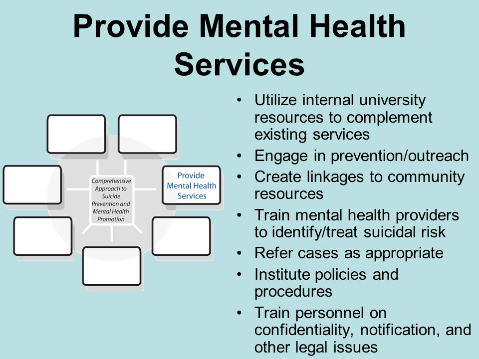 Provide Mental Health Services Utilize internal university resources to complement existing services Engage in prevention/outreach Create linkages to community resources Train mental health providers to identify/treat suicidal risk Refer cases as appropriate Institute policies and procedures Train personnel on confidentiality, notification, and other legal issues