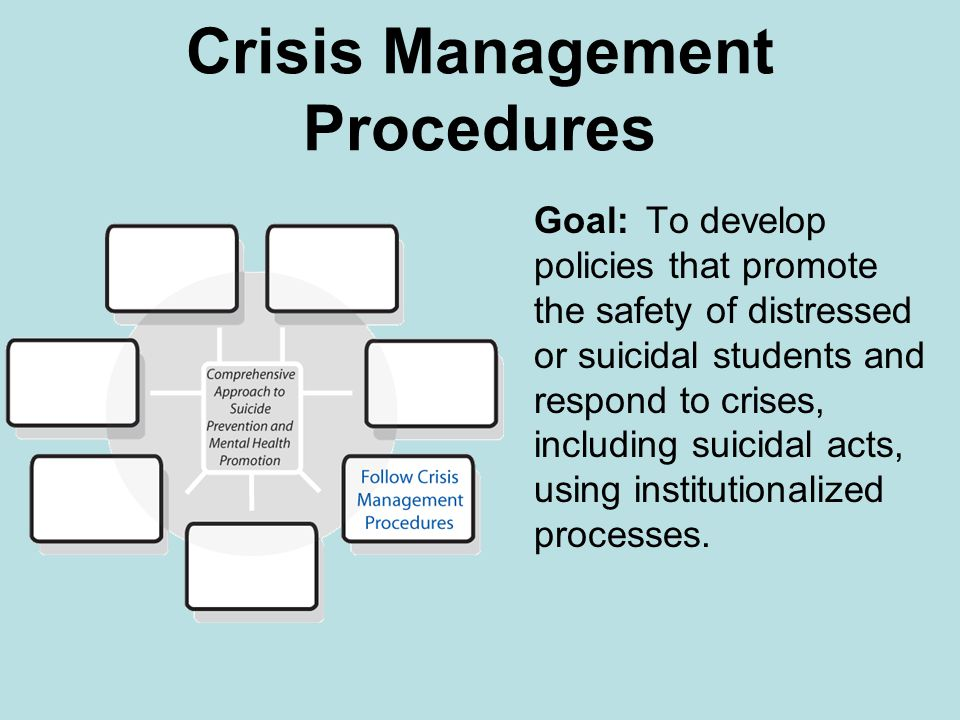 Crisis Management Procedures Goal: To develop policies that promote the safety of distressed or suicidal students and respond to crises, including suicidal acts, using institutionalized processes.