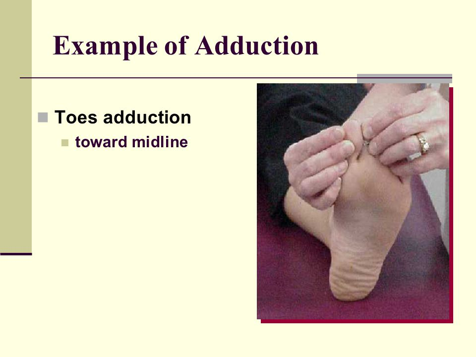 Example of Adduction Toes adduction toward midline