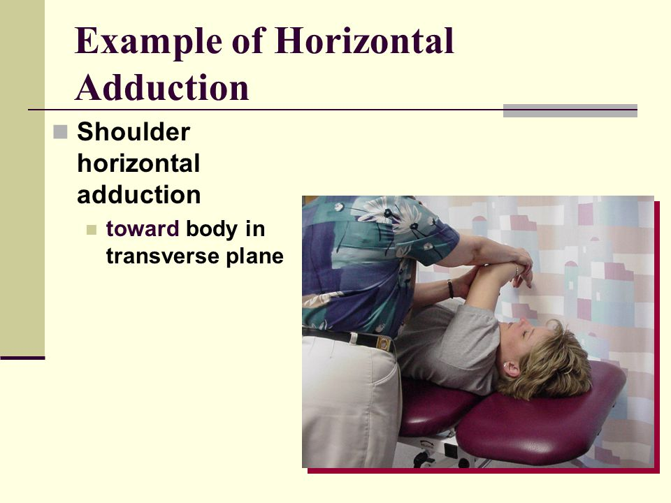 Example of Horizontal Adduction Shoulder horizontal adduction toward body in transverse plane