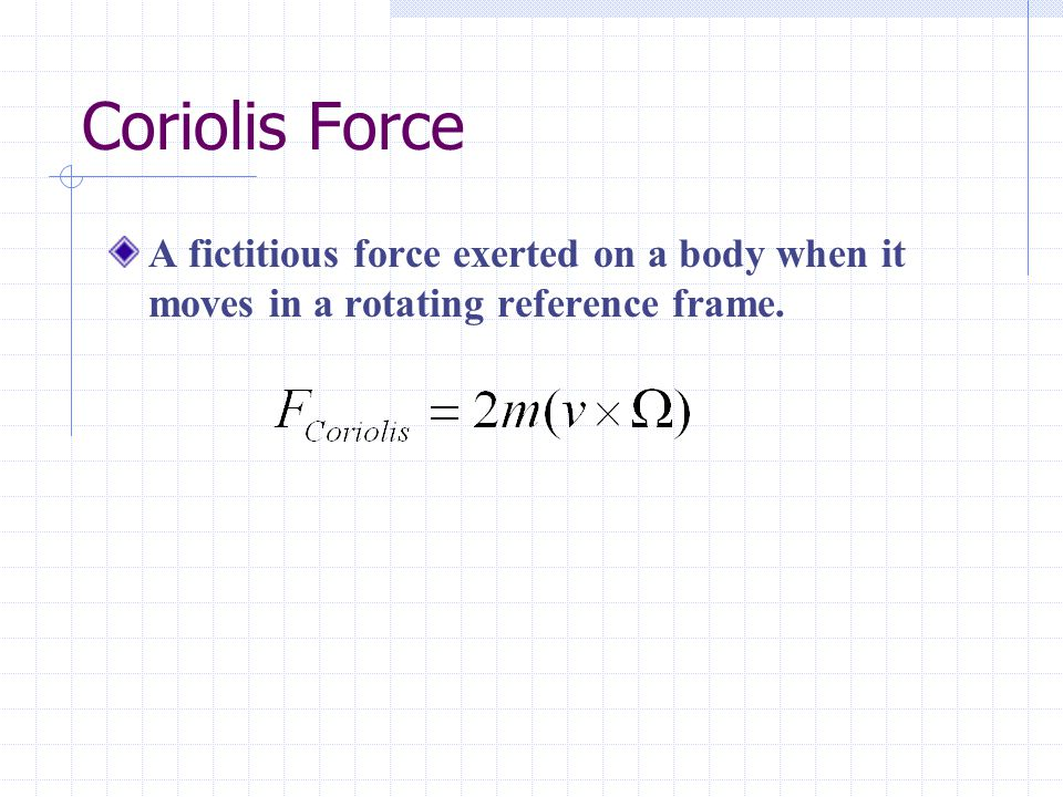 Coriolis Force A fictitious force exerted on a body when it moves in a rotating reference frame.
