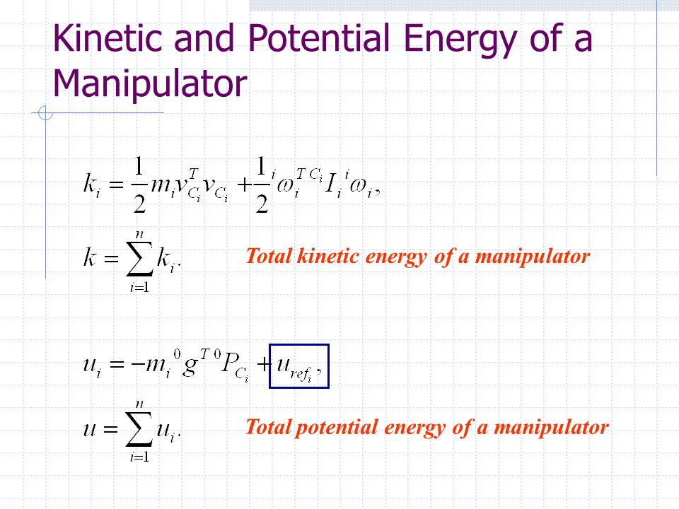 Total kinetic energy of a manipulator Total potential energy of a manipulator Kinetic and Potential Energy of a Manipulator