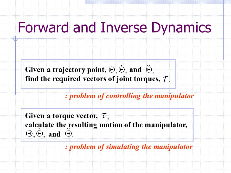 Forward and Inverse Dynamics Given a trajectory point, and find the required vectors of joint torques, Given a torque vector, calculate the resulting