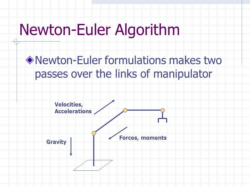 Newton-Euler Algorithm Forward computation First compute the angular velocity, angular acceleration, linear velocity, linear acceleration of each link in terms of its preceding link.
