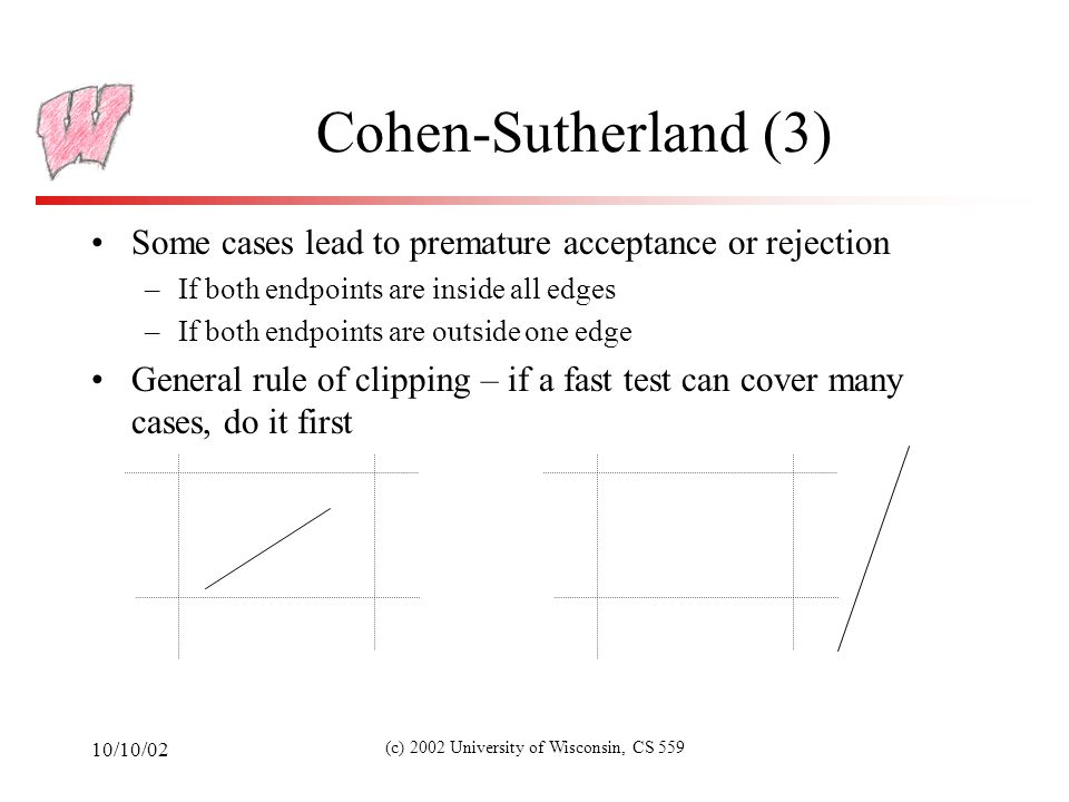 10/10/02 (c) 2002 University of Wisconsin, CS 559 Cohen-Sutherland (3) Some cases lead to premature acceptance or rejection –If both endpoints are inside all edges –If both endpoints are outside one edge General rule of clipping – if a fast test can cover many cases, do it first