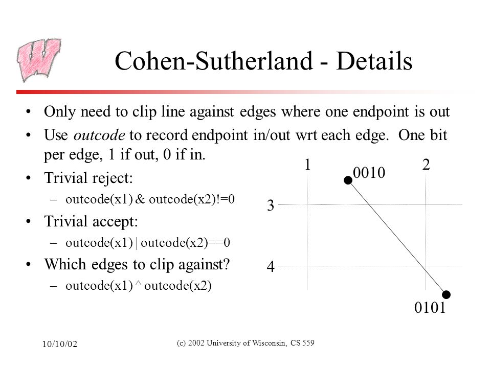 10/10/02 (c) 2002 University of Wisconsin, CS 559 Cohen-Sutherland - Details Only need to clip line against edges where one endpoint is out Use outcode to record endpoint in/out wrt each edge.