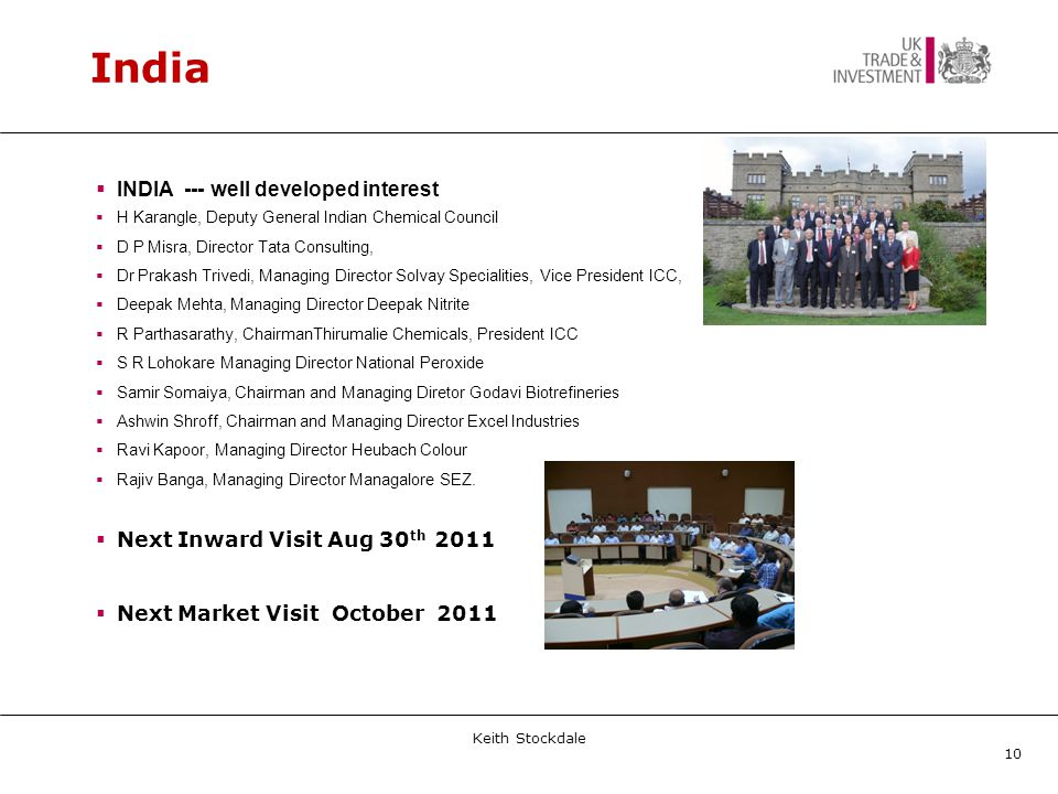 India  INDIA --- well developed interest  H Karangle, Deputy General Indian Chemical Council  D P Misra, Director Tata Consulting,  Dr Prakash Trivedi, Managing Director Solvay Specialities, Vice President ICC,  Deepak Mehta, Managing Director Deepak Nitrite  R Parthasarathy, ChairmanThirumalie Chemicals, President ICC  S R Lohokare Managing Director National Peroxide  Samir Somaiya, Chairman and Managing Diretor Godavi Biotrefineries  Ashwin Shroff, Chairman and Managing Director Excel Industries  Ravi Kapoor, Managing Director Heubach Colour  Rajiv Banga, Managing Director Managalore SEZ.
