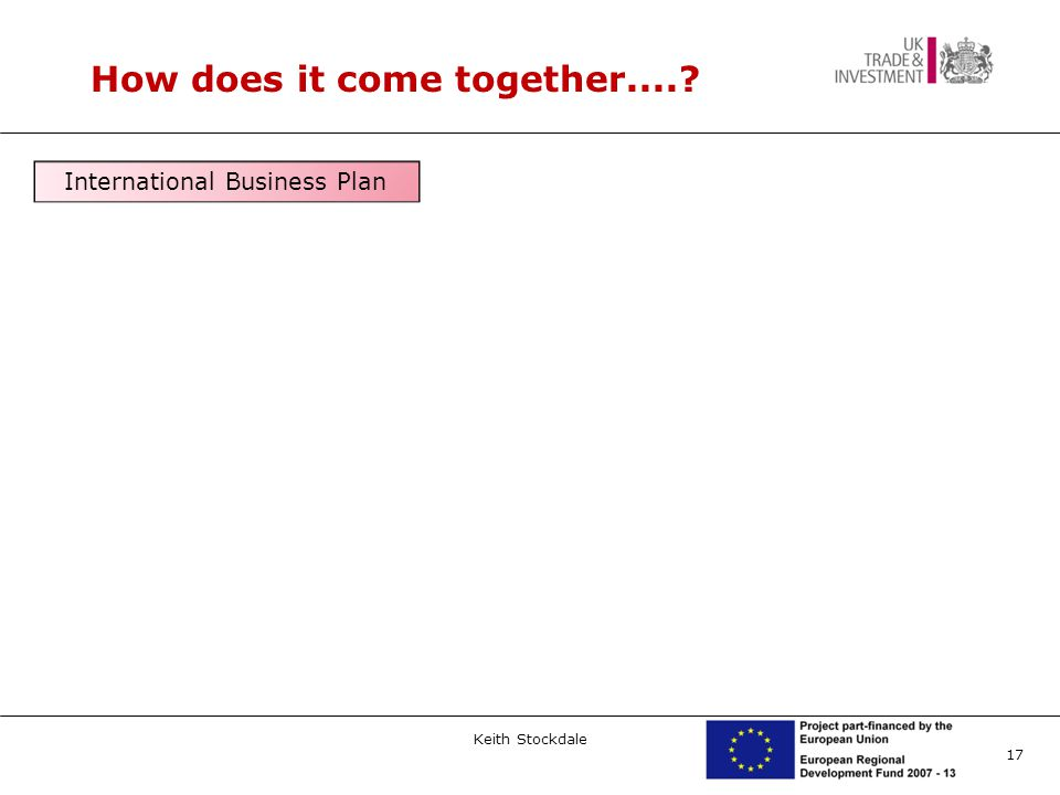 17 How does it come together....? International Business Plan Keith Stockdale