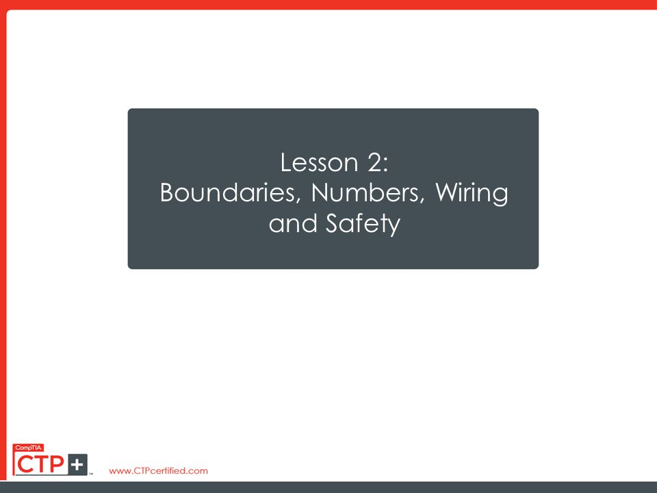 Lesson 2: Boundaries, Numbers, Wiring and Safety