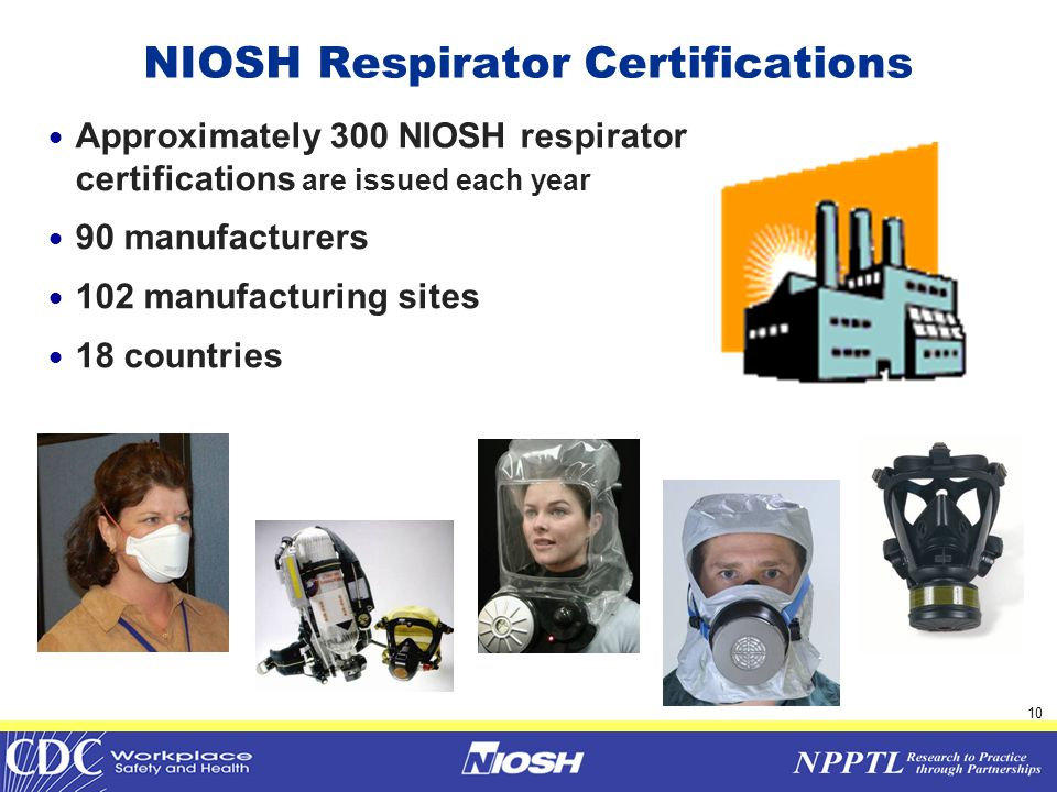 11  Respirator Certification  Engineering Evaluation  Respirator Testing  QA Plan Evaluation  Post Certification  Manufacturing Site Audits  Respirator Product Audits  Respirator Evaluations NIOSH Respirator Certification 42 CFR Part 84