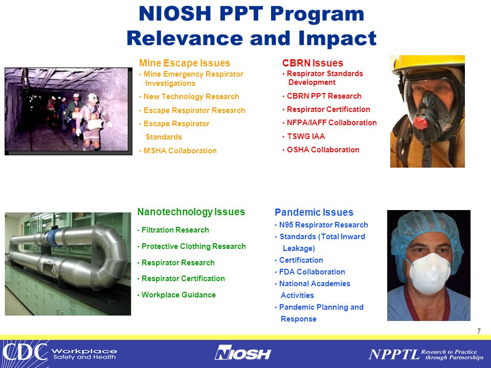 8 PPT Program Management PPT Program Management Technology Evaluation Technology Evaluation Policy & Standards Development Policy & Standards Development Technology Research Technology Research NPPTL & NIOSH PPE/PPT Program Activities Scientific Excellence Scientific Excellence Outreach  Respirator Certification Program  Quality Audit Program  Certified Product Investigations  Firefighter SCBA Investigations  Long-term Field Evaluation  Enhancements to 42 CFR Part 84  Chemical, Biological, Radiological, and Nuclear (CBRN) Respirator Standards Development  Guidance Document Development  Respiratory Protection  Protective Clothing & Ensembles  Integration of Sensors & Electronics  Human Performance  Fall Protection  Hearing Protection  Surveillance  Scientific evaluations  Program Evaluations  Health Communications  Respirator Trusted Source Site