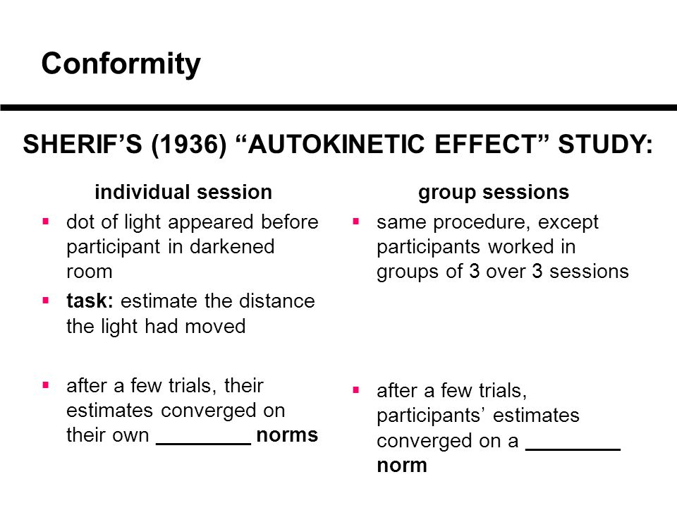 Conformity individual session  dot of light appeared before participant in darkened room  task: estimate the distance the light had moved  after a few trials, their estimates converged on their own _________ norms group sessions  same procedure, except participants worked in groups of 3 over 3 sessions  after a few trials, participants' estimates converged on a _________ norm SHERIF'S (1936) AUTOKINETIC EFFECT STUDY:
