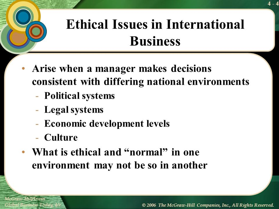 4 - 4 McGraw-Hill/Irwin Global Business Today, 4/e © 2006 The McGraw-Hill Companies, Inc., All Rights Reserved. Ethical Issues in International Busine