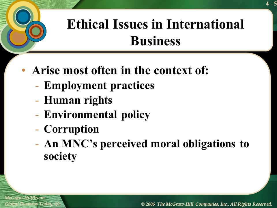 4 - 5 McGraw-Hill/Irwin Global Business Today, 4/e © 2006 The McGraw-Hill Companies, Inc., All Rights Reserved. Ethical Issues in International Busine