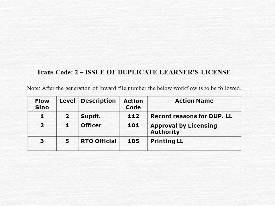 Trans Code: 2 – ISSUE OF DUPLICATE LEARNER'S LICENSE Flow Slno LevelDescriptionAction Code Action Name 12Supdt.112Record reasons for DUP.