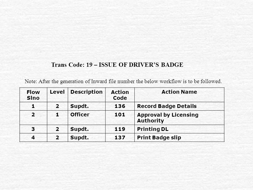 Trans Code: 19 – ISSUE OF DRIVER'S BADGE Flow Slno LevelDescriptionAction Code Action Name 12Supdt.136Record Badge Details 21Officer101Approval by Licensing Authority 32Supdt.119Printing DL 42Supdt.137Print Badge slip Note: After the generation of Inward file number the below workflow is to be followed.