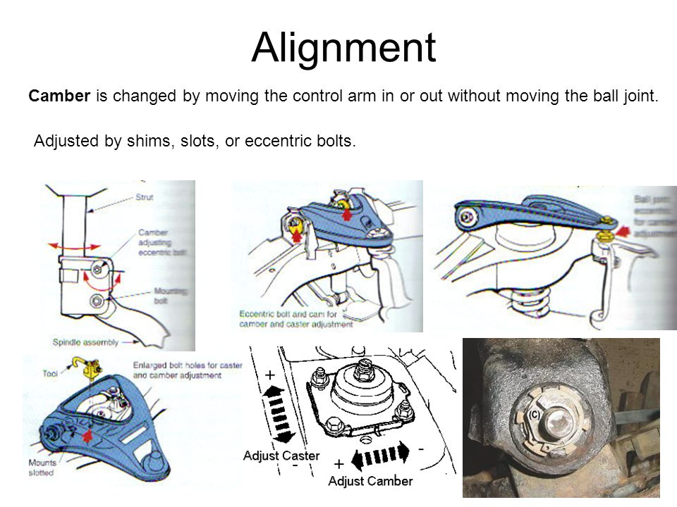 Alignment Camber is changed by moving the control arm in or out without moving the ball joint. Adjusted by shims, slots, or eccentric bolts.