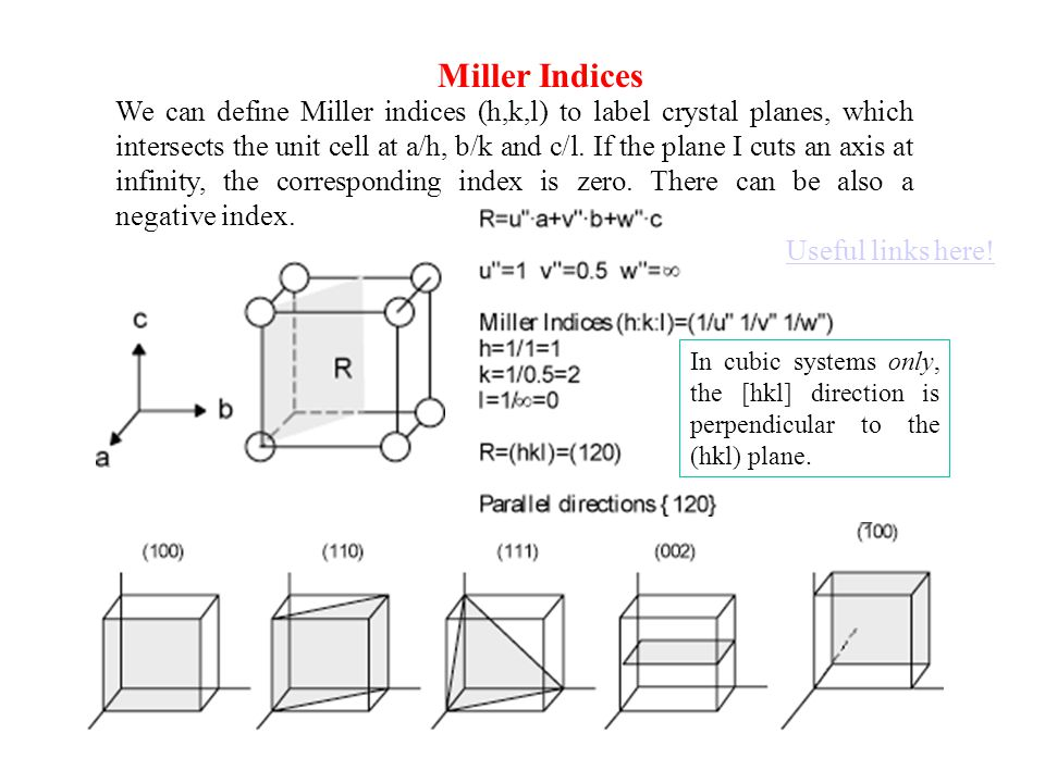Miller Indices We can define Miller indices (h,k,l) to label crystal planes, which intersects the unit cell at a/h, b/k and c/l. If the plane I cuts a