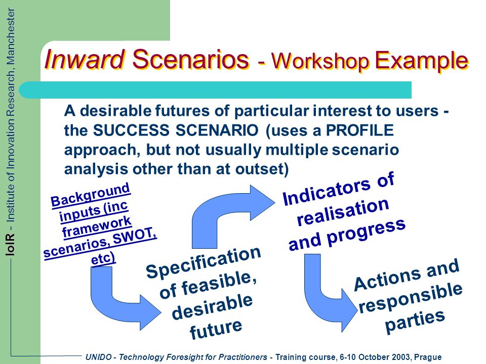 UNIDO - Technology Foresight for Practitioners - Training course, 6-10 October 2003, Prague IoIR - Institute of Innovation Research, Manchester Inward Scenarios - Workshop Example A desirable futures of particular interest to users - the SUCCESS SCENARIO (uses a PROFILE approach, but not usually multiple scenario analysis other than at outset) Background inputs (inc framework scenarios, SWOT, etc) Specification of feasible, desirable future Indicators of realisation and progress Actions and responsible parties