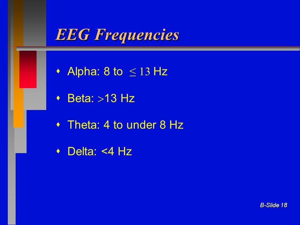 B-Slide 18 EEG Frequencies  Alpha: 8 to ≤ 13 Hz  Beta:  13 Hz  Theta: 4 to under 8 Hz  Delta: <4 Hz
