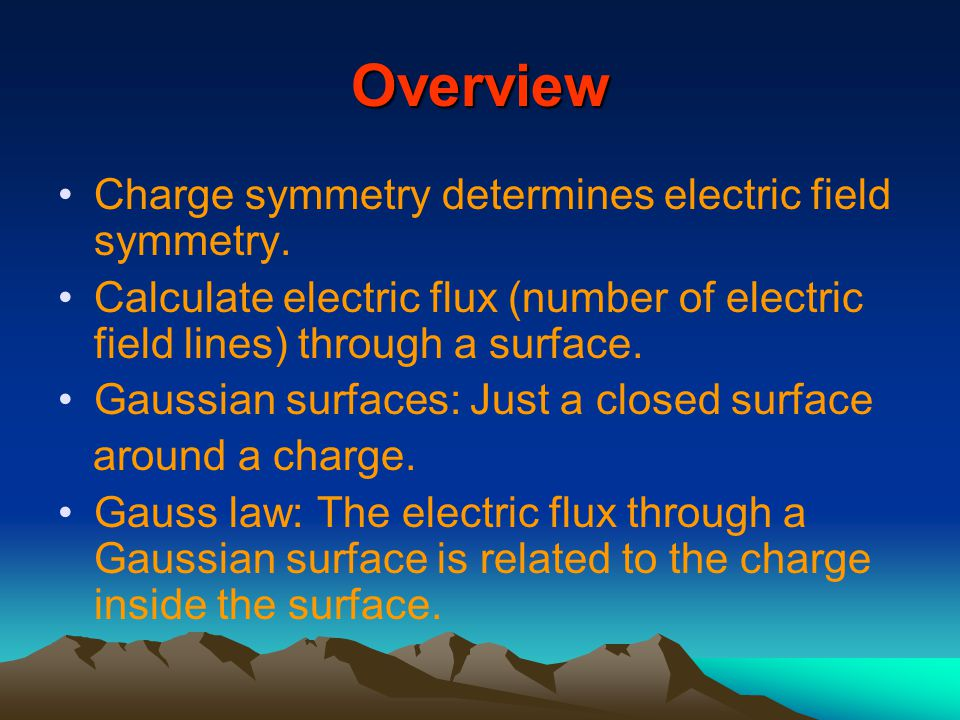 Overview Charge symmetry determines electric field symmetry.