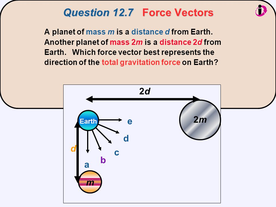 Question 12.7Force Vectors Question 12.7 Force Vectors A planet of mass m is a distance d from Earth. Another planet of mass 2m is a distance 2d from