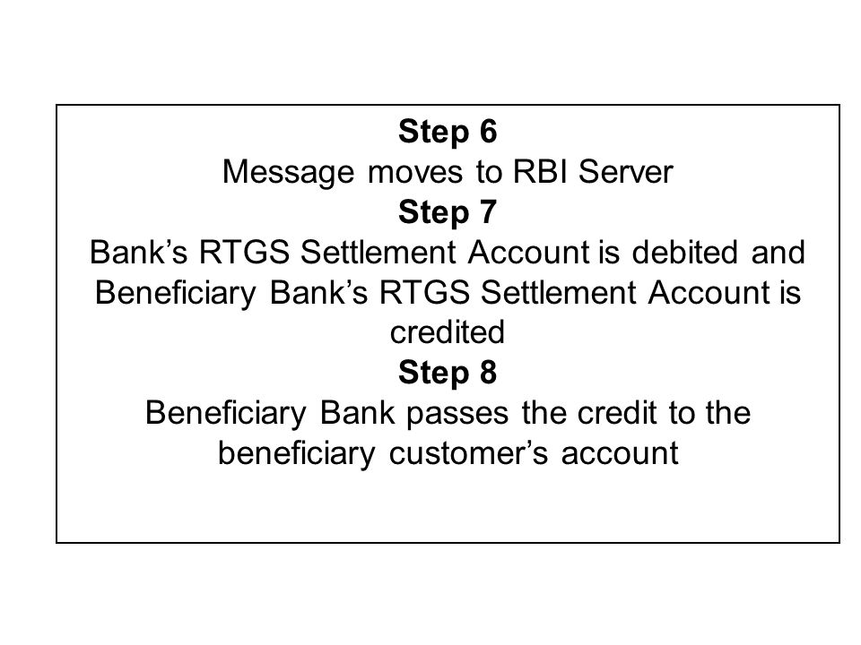 About RTGS… Payment instructions between banks are processed and settled individually and continuously without netting the debits against credits Payments are processed as per prescribed Timings by RBI (except on Sundays and National holidays across states) Transactions Supported through RTGS presently - –Inter-bank Payments –Customer Payments –Own Account Transfers –Net Clearing –NDS / CCIL