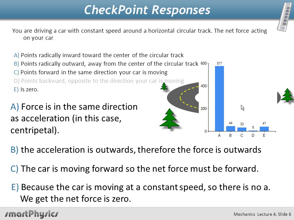 Mechanics Lecture 4, Slide 7 CheckPoint You are driving a car with constant speed around a horizontal circular track.