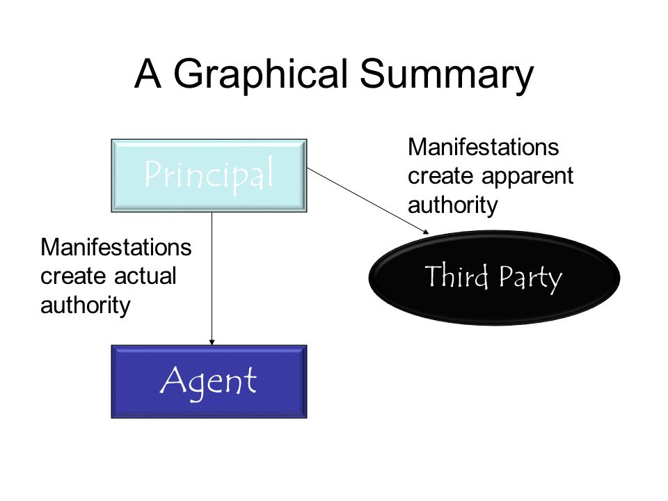 A Graphical Summary Manifestations create apparent authority Manifestations create actual authority Third Party Agent Principal