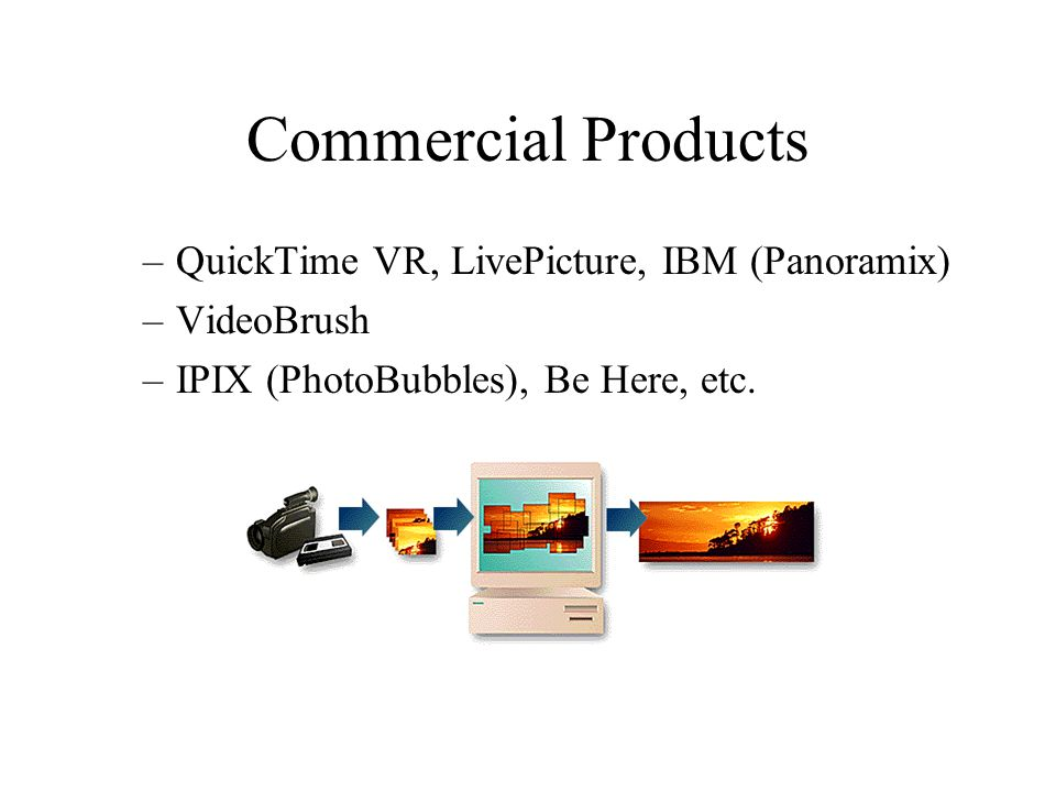 Commercial Products –QuickTime VR, LivePicture, IBM (Panoramix) –VideoBrush –IPIX (PhotoBubbles), Be Here, etc.