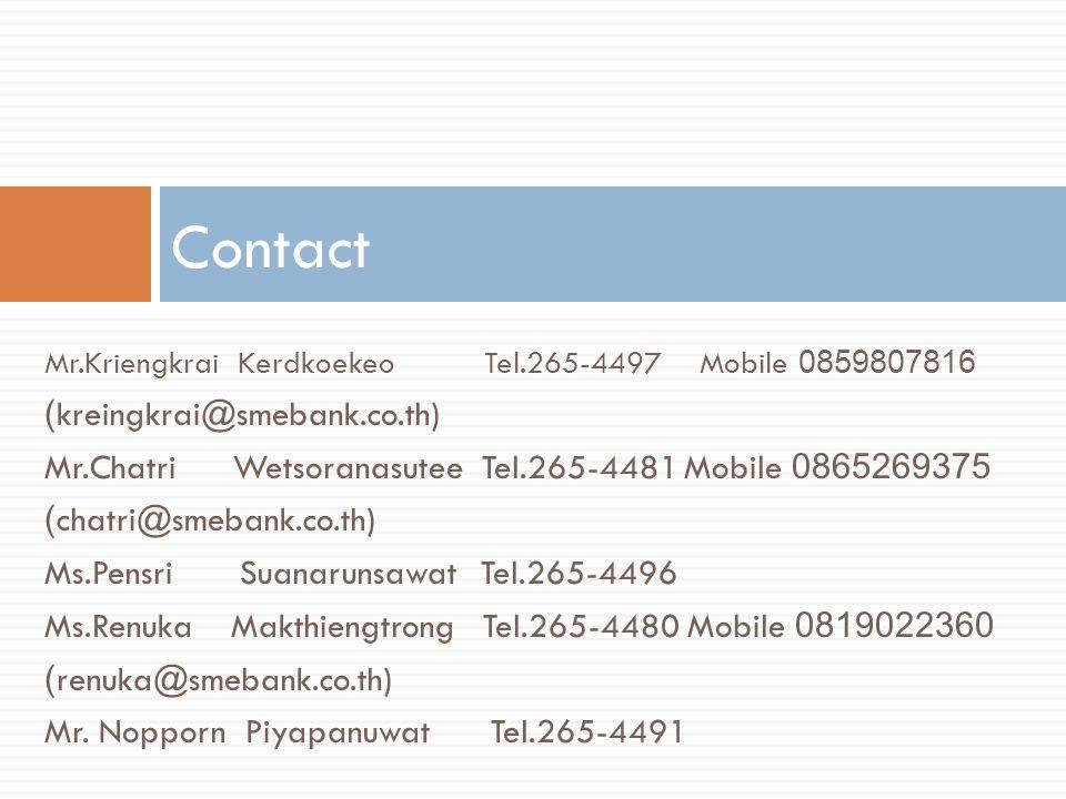 Mr.Kriengkrai Kerdkoekeo Tel.265-4497 Mobile 0859807816 (kreingkrai@smebank.co.th) Mr.Chatri Wetsoranasutee Tel.265-4481Mobile 0865269375 (chatri@smeb