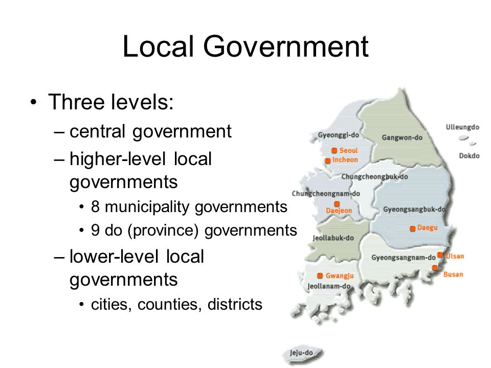 Local Government Three levels: –central government –higher-level local governments 8 municipality governments 9 do (province) governments –lower-level
