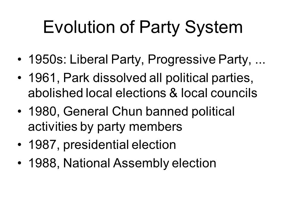 Evolution of Party System 1950s: Liberal Party, Progressive Party,...